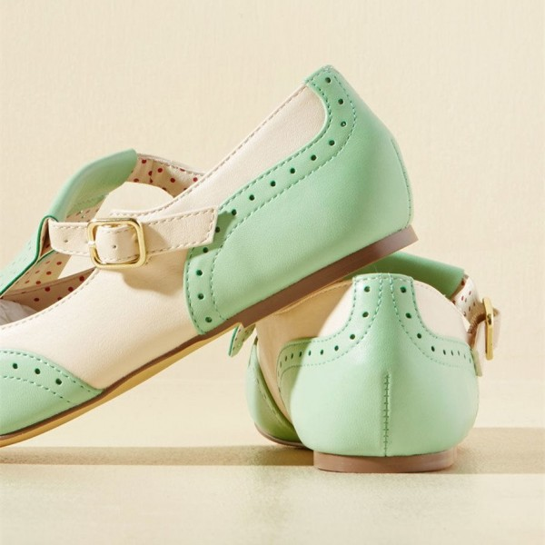 Mint Green Women's Oxfords Fringe Hollow out Comfortable Flats image 4