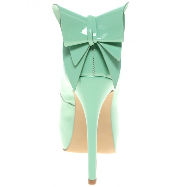 Mint Green Stiletto Heels Peep Toe Platform Pumps with Bow image 4