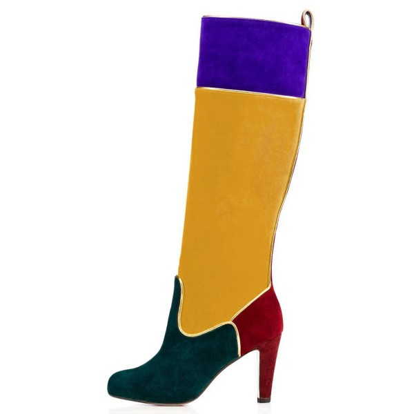 Multi-color Knee Boots Round Toe Chunky Heel Boots by FSJ image 2