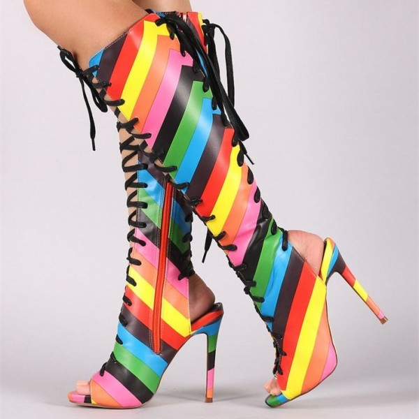 Rainbow Lace up Boots Multicolor Peep Toe Stiletto Heel Knee Boots image 1