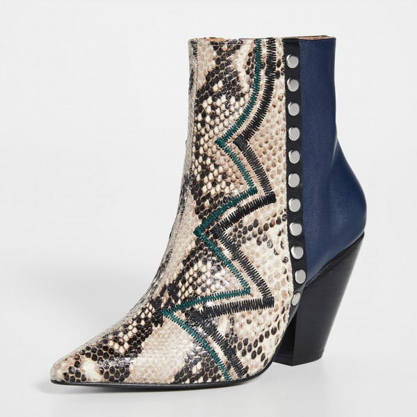 Multi-Color Python Pointy Toe Chunky Heel Boots Ankle Boots image 3
