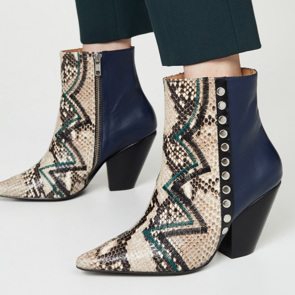 Multi-Color Python Pointy Toe Chunky Heel Boots Ankle Boots image 1