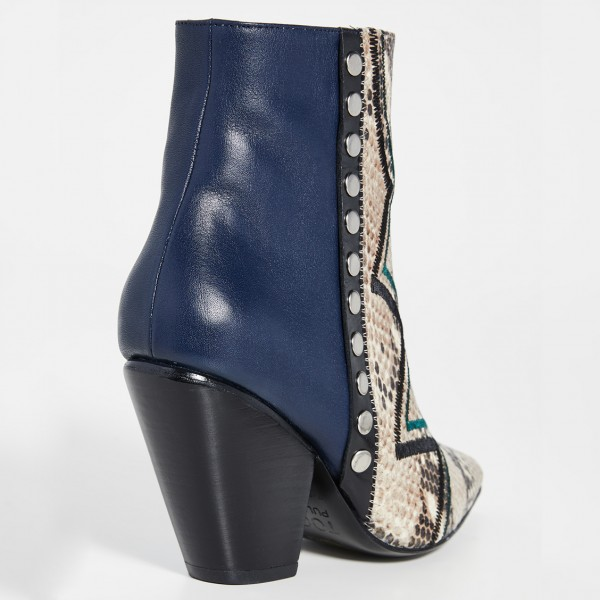 Multi-Color Python Pointy Toe Chunky Heel Boots Ankle Boots image 2