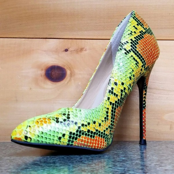 Multi-color Stiletto Heels Colorful Python Pointy Toe Pump Dress Shoes image 2