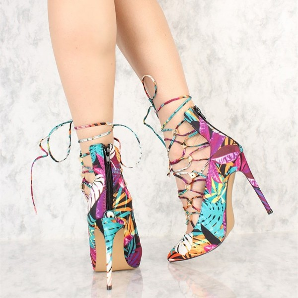 Jungle Lace up Heels Pointy Toe Trendy Strappy Stiletto Heel Pumps image 4