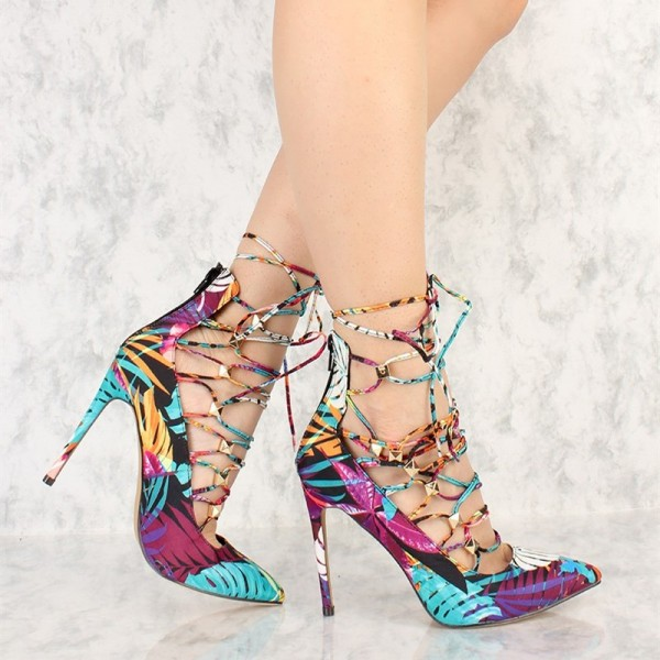Jungle Lace up Heels Pointy Toe Trendy Strappy Stiletto Heel Pumps image 2