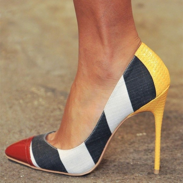 Multi-color Stripes Stiletto Heels Pointy Toe Pumps  image 1