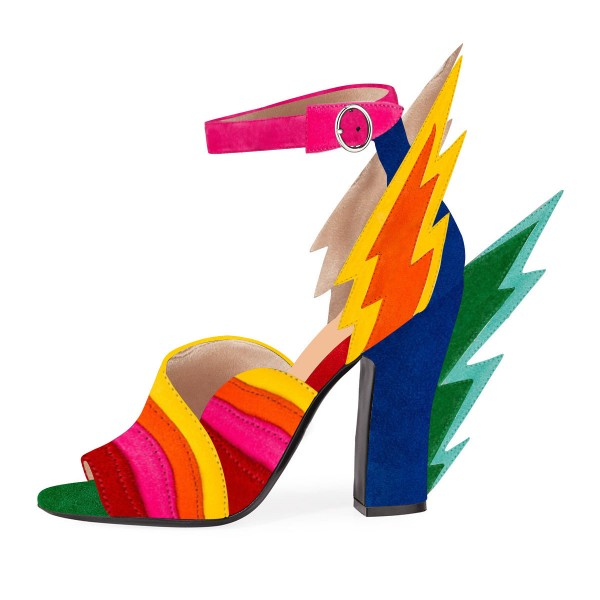 Multi-Color Suede Ankle Strap Sandals Lightning Chunky Heel Sandals image 2
