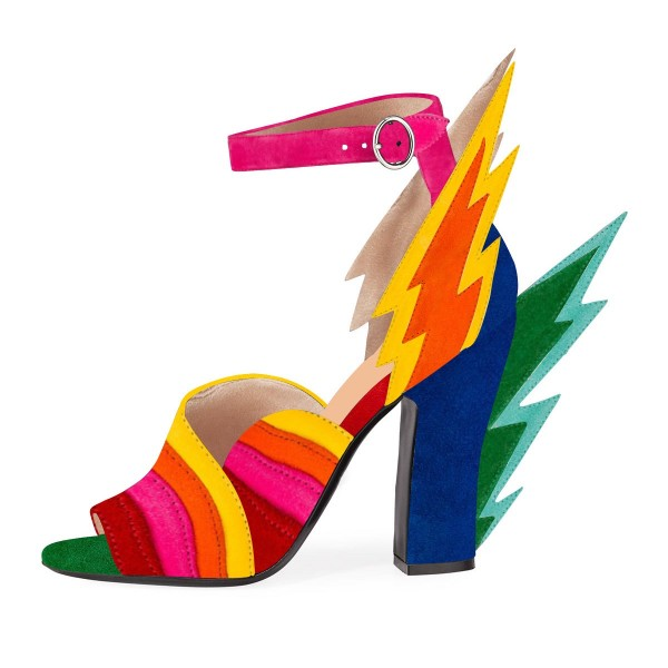 Multi-Color Suede Ankle Strap Sandals Lightning Chunky Heel Sandals image 3