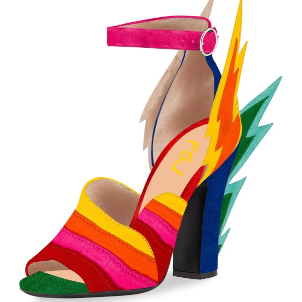 Multi-Color Suede Ankle Strap Sandals Lightning Chunky Heel Sandals image 1
