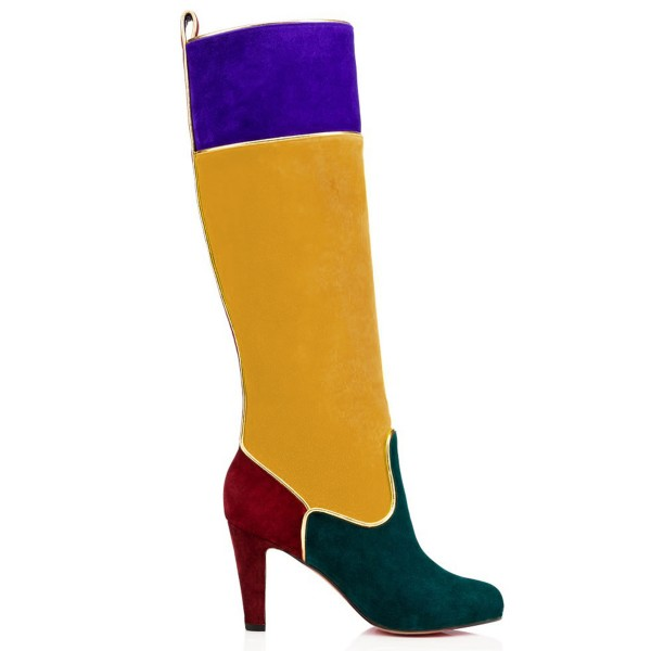 Multi-color Knee Boots Chunky Heel Velvet Boots by FSJ image 3