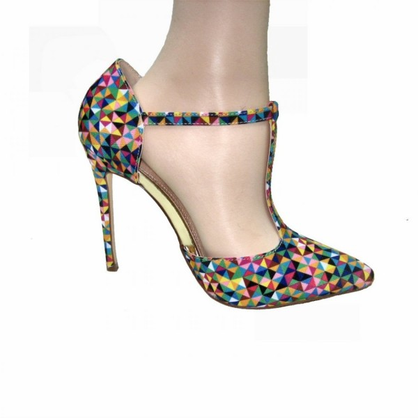Colorful T Strap Pumps Pointy Toe Stiletto Heels image 3