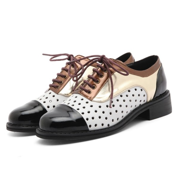 Multi-color Women's Oxfords Hollow out Lace up Comfortable Vintage Shoes image 3