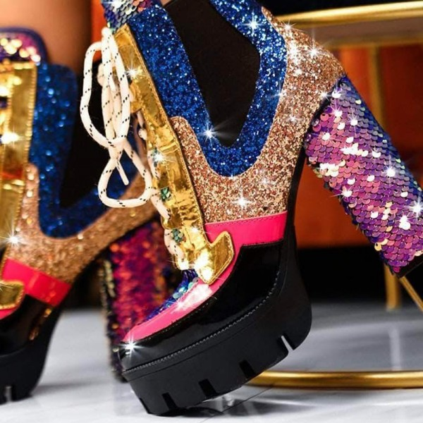 Multi Color Lace up Boots Glitter Sequined Chunky Heel Ankle Boots image 2