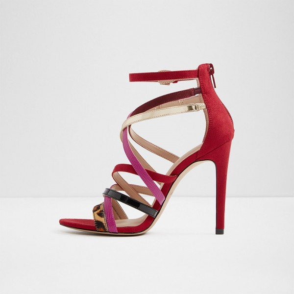 Multicolor Buckles Cross over Strap Stiletto Heels Sandals Prom Shoes image 1