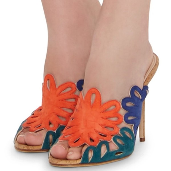 Multicolor Floral Cut out Mule Heels Hollow out Sandals image 1