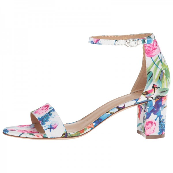 Multicolor Floral Chunky Heel Open Toe Ankle Strap Sandals image 4