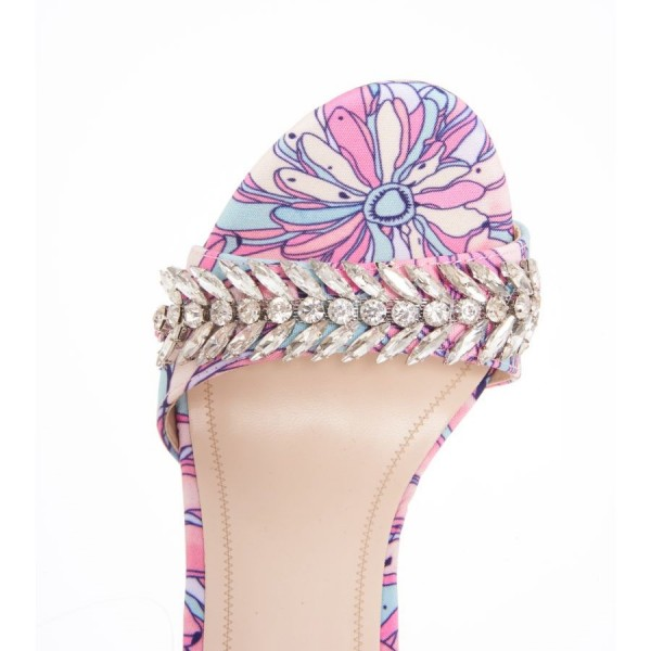 Multicolor Floral Rhinestones Stiletto Heel Ankle Strap Sandals image 2