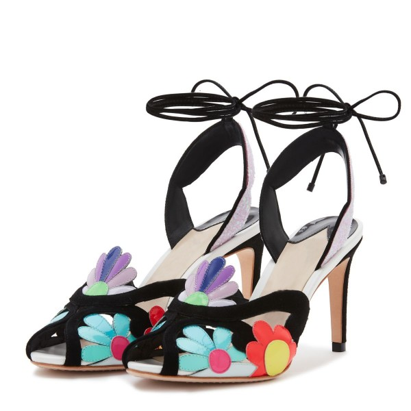 1094894a5db Multicolor Flowers Glitter Slingback Heels Stilettos Strappy Sandals image  1 ...