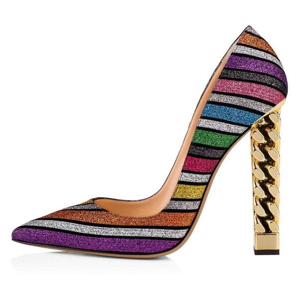 Multicolor Glitter Chunky Heels Pumps image 2