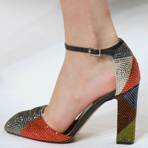 Multicolor Rhinestone Chunky Heel Ankle Strap Sandals image 1