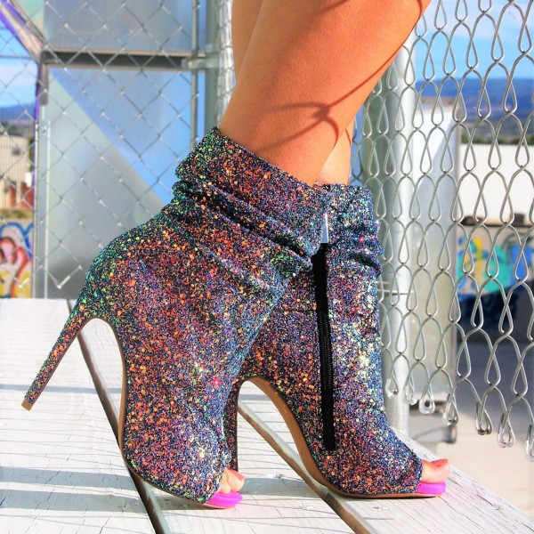 Colorful Slouch Boots Glitter Stiletto Heel Peep Toe Booties image 3