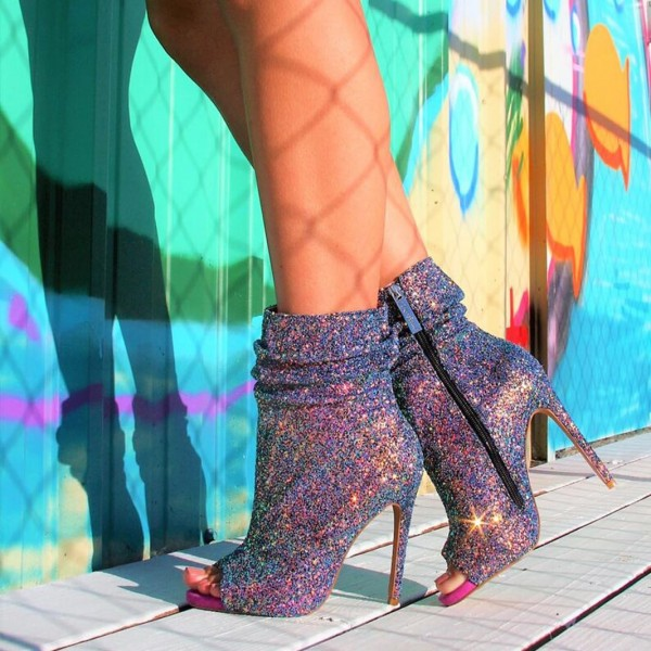Colorful Slouch Boots Glitter Stiletto Heel Peep Toe Booties image 1