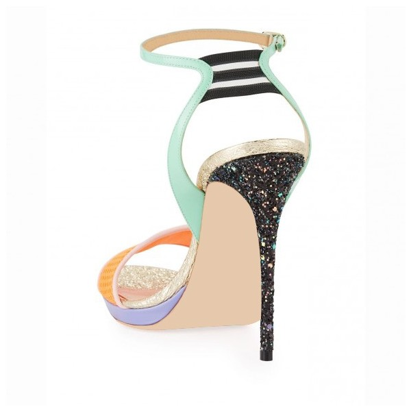 Multicolor Glitter Stiletto Heel Net Ankle Strap Sandals image 2