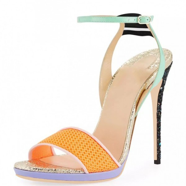 Multicolor Glitter Stiletto Heel Net Ankle Strap Sandals image 1