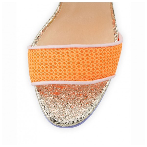 Multicolor Glitter Stiletto Heel Net Ankle Strap Sandals image 3