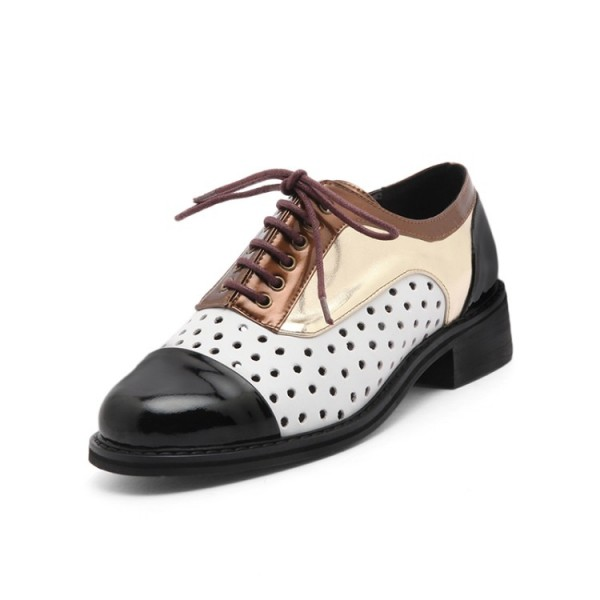 Multi-color Women's Oxfords Hollow out Lace up Comfortable Vintage Shoes image 2
