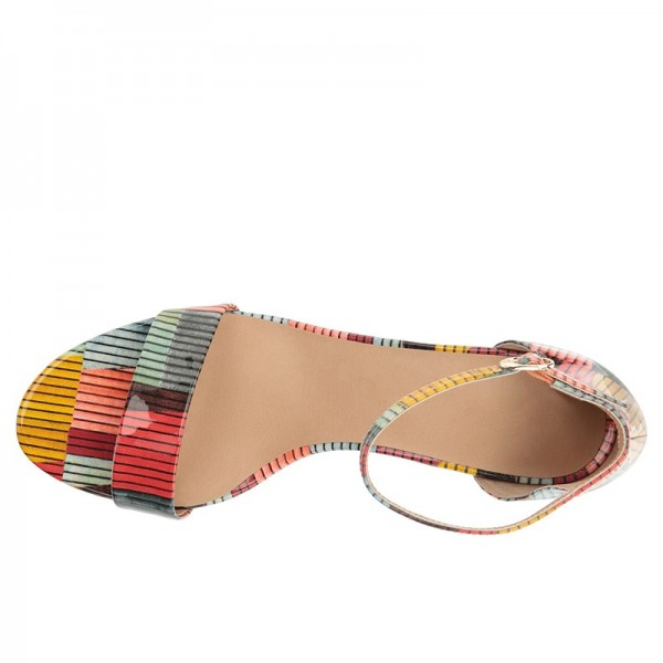 Multicolor Patent Leather Chunky Heel Ankle Strap Sandals image 2