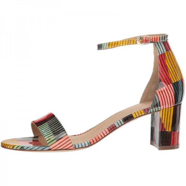 Multicolor Patent Leather Chunky Heel Ankle Strap Sandals image 4