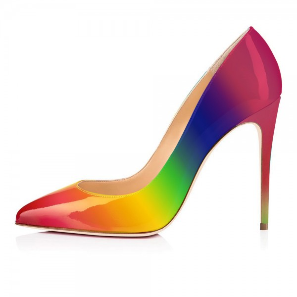 Multicolor Patent Leather Stiletto Heels Pumps Gradient Color Shoes image 4