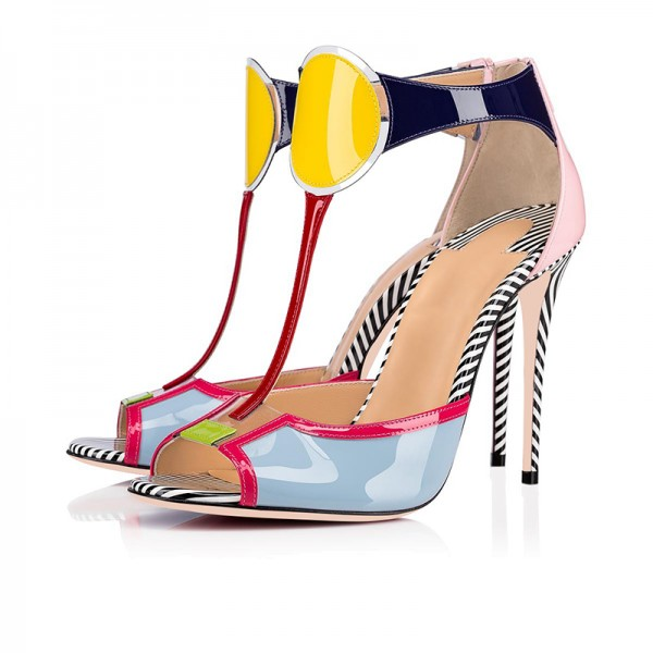 Multicolor Patent Leather T Strap Heels Sandals image 1