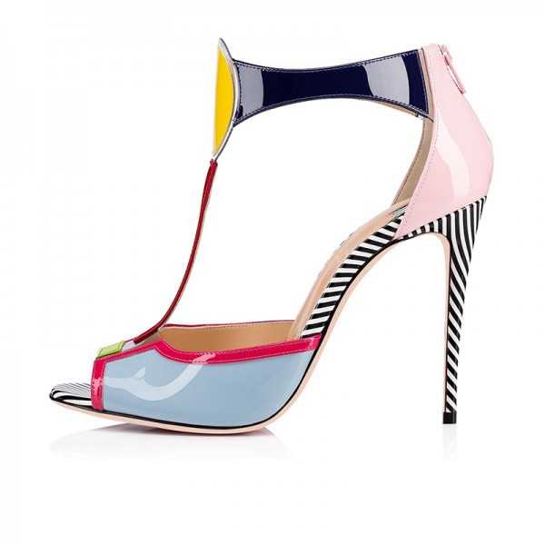 Multicolor Patent Leather T Strap Heels Sandals image 3