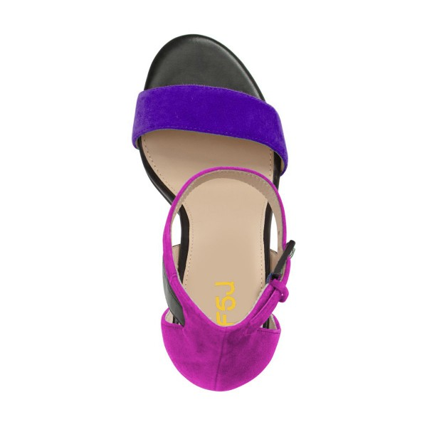 Purple and Black Ankle Strap Sandals Suede Block Heels by FSJ image 3