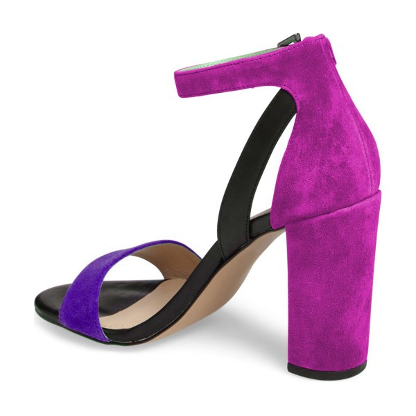 Purple and Black Ankle Strap Sandals Suede Block Heels by FSJ image 4
