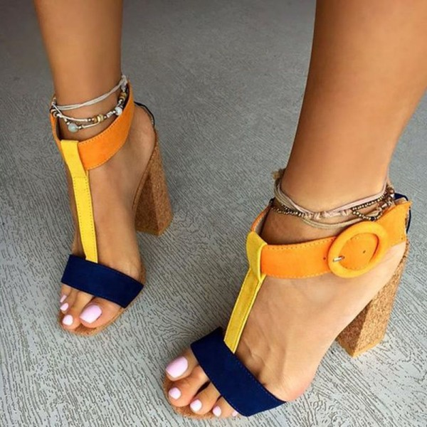 Orange and Navy T Strap Sandals Chunky Heels Sandals for Women image 1