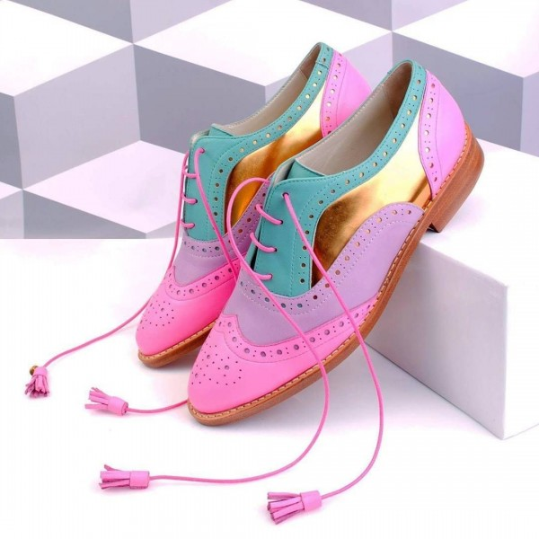 Multicolor Women's Oxfords Lace up Flat Tassels Comfortable Shoes image 1