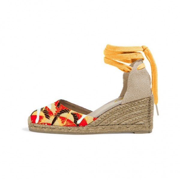 Mustard Floral Print Espadrille Wedges Ankle Wrap Closed Toe Sandals image 1