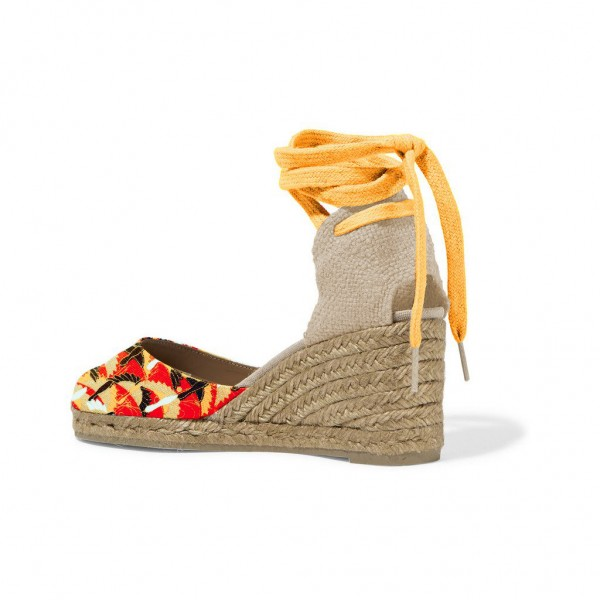 Mustard Floral Print Espadrille Wedges Ankle Wrap Closed Toe Sandals image 3