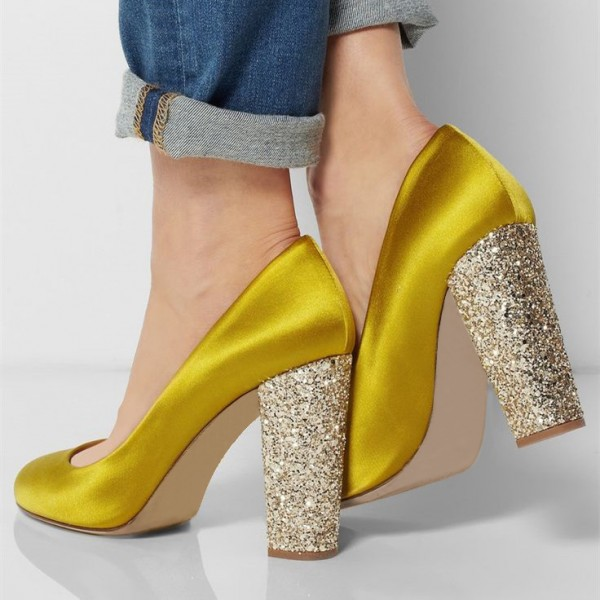 Gold Sparkly Heels Glitter Satin Chunky Heel Pumps for Ladies image 1