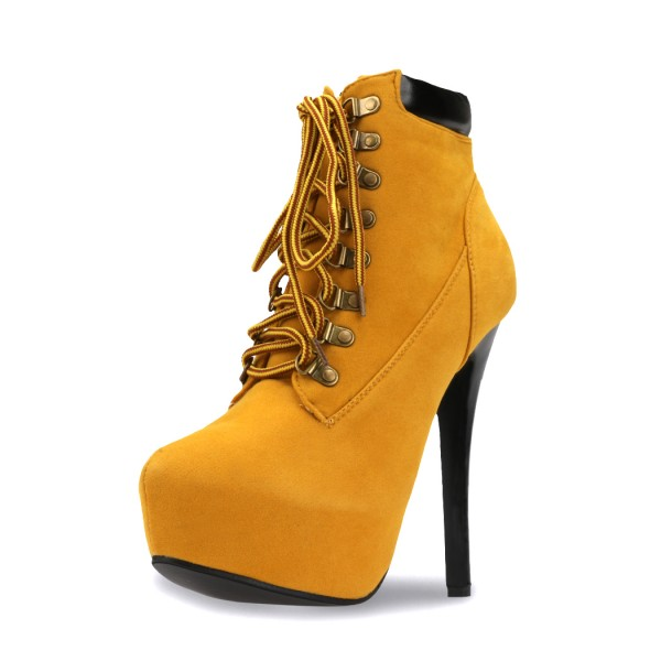 Mustard Lace up Boots Stiletto Heel Platform Vintage Suede Shoes  image 5
