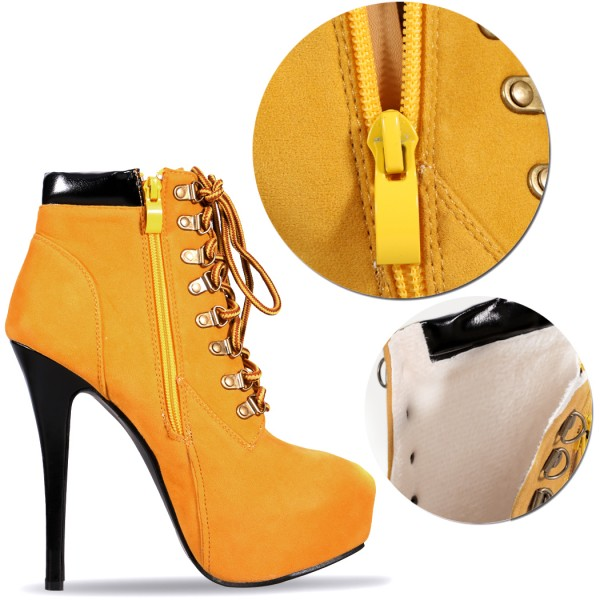 Mustard Lace up Boots Stiletto Heel Platform Vintage Suede Shoes  image 4