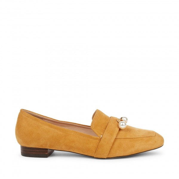 Mustard Square Toe Loafers for Women Comfortable Flats with Pearl image 3