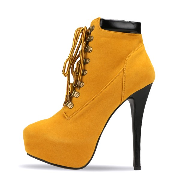 Mustard Lace up Boots Stiletto Heel Platform Vintage Suede Shoes  image 2