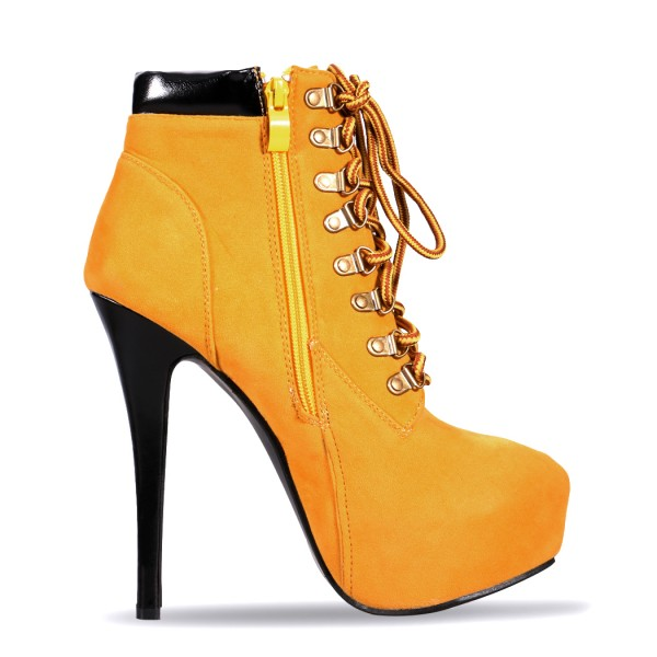 Mustard Lace up Boots Stiletto Heel Platform Vintage Suede Shoes  image 3