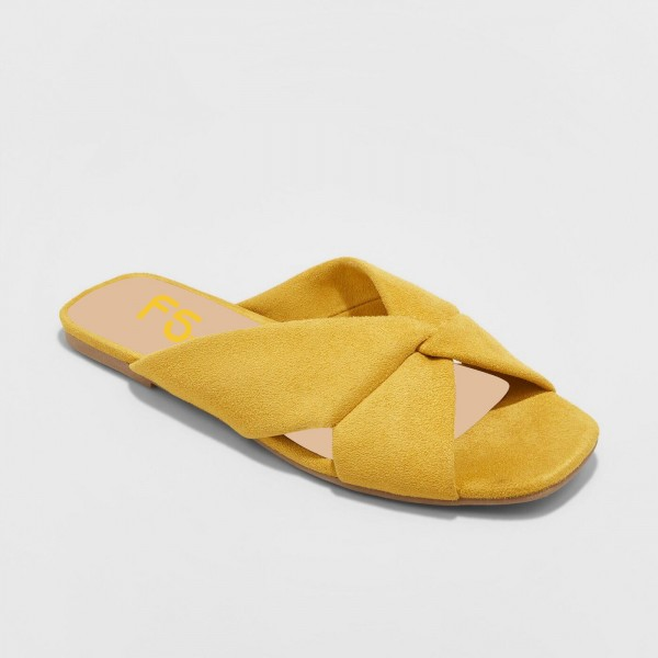 a716b49a9a9 Mustard Suede Women s Slide Sandals Open Toe Summer Flat Sandals image ...