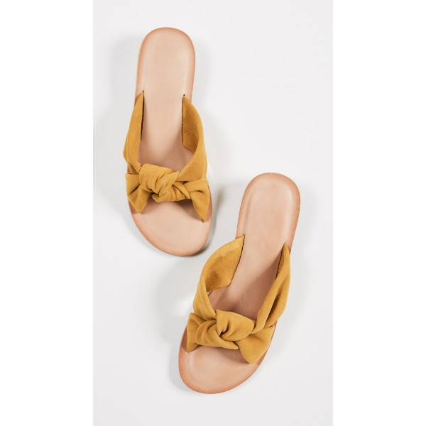 Mustard Suede Women's Slide Sandals Open Toe Summer Flat Bow Sandals image 4